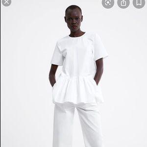Zara white poplin blouse